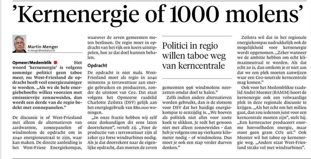"""Menger, M. (2019). """"'Kernenergie of 1000 molens'"""". Noord-Hollands Dagblad, 25 november."""